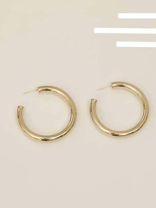 14k Gold Plating [large] Copper Alloy Round Minimalist Hoop Earring